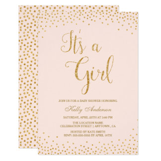 Pink and Gold Glitter Girl Baby Shower Invitations