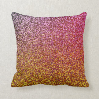 Pink and Gold Glitter Ombre Look Girly Cushion