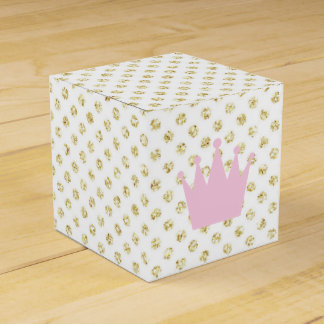 Pink and Gold Glitter Princess Crown Favor Box
