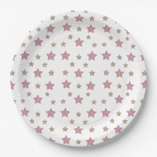 """Pink and Gold Glitter Star 9"""" Paper Plate"""