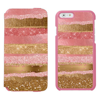 Pink and Gold Glitzy iPhone 6/6s Wallet Case Incipio Watson™ iPhone 6 Wallet Case