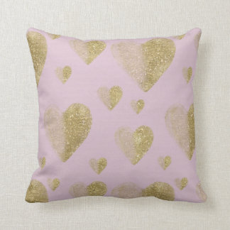 Pink and Gold Hearts Cushion