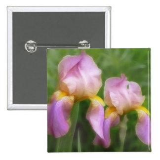 Pink And Gold Irises Pin