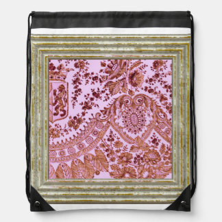 Pink And Gold Lace Drawstring Bag