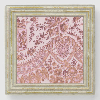 Pink And Gold Lace Stone Coaster
