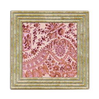 Pink And Gold Lace Wood Coaster