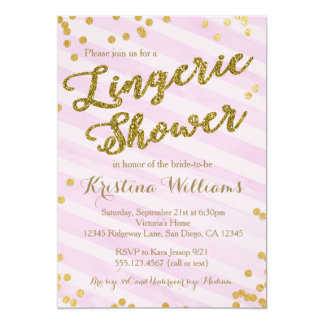 Pink and Gold Lingerie Bridal Shower Invitation