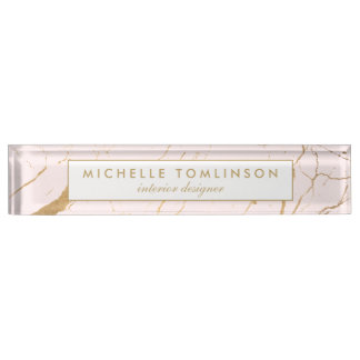 Pink and Gold Marble Designer Nameplate