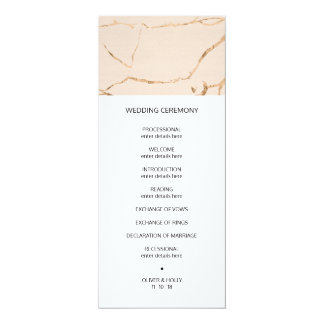 Pink and gold marble effect wedding program