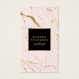 Pink and Gold Marble Makeup Artist Business Card