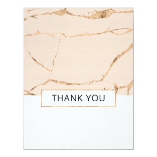 Pink and gold marble wedding thank you - flat card
