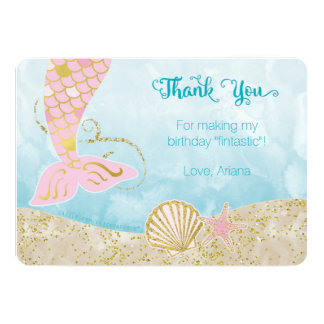 Pink and Gold Mermaid Thank You Card