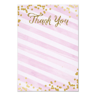 Pink and Gold Metallic sprinkle Thank you card 9 Cm X 13 Cm Invitation Card