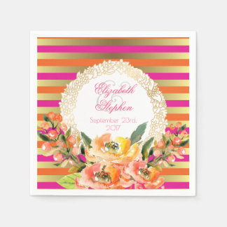Pink and Gold Metallic Stripes w/ Florals Wedding Paper Napkins