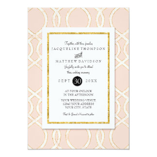 Pink and Gold Modern Trellis Pattern Typography Card