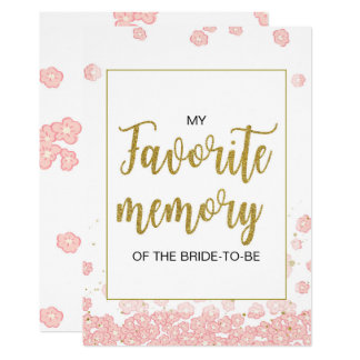 Pink and Gold My Favorite Memory of the Bride Sign 13 Cm X 18 Cm Invitation Card