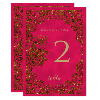 Pink and Gold Peacock Indian Table Number 13 Cm X 18 Cm Invitation Card