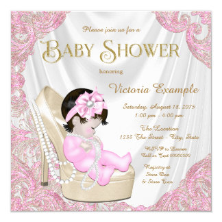 Pink and Gold Pearl Shoe Baby Shower 13 Cm X 13 Cm Square Invitation Card