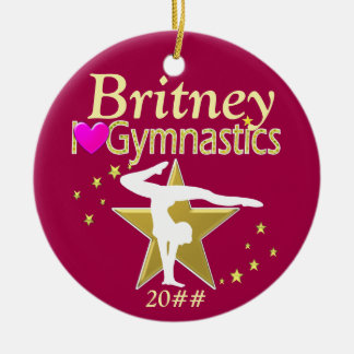 PINK AND GOLD PERSONALIZED GYMNAST ORNAMENT