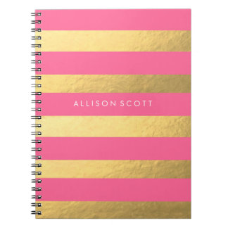 Pink And Gold Personalized Notebook
