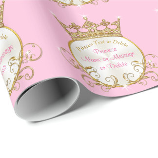 Pink and Gold Personalized Princess Wrapping Paper