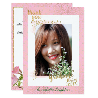 Pink and Gold Photo Graduation Thank You Card