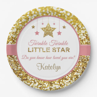 Pink and gold plates: Twinkle Twinkle little star Paper Plate