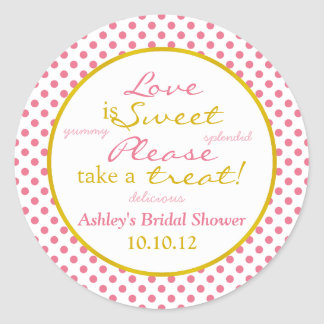 Pink and Gold Polka Dot Candy Buffet Stickers