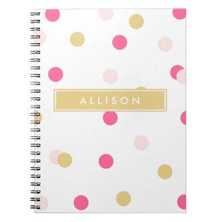 Pink and Gold Polka Dot Monogram Notebook