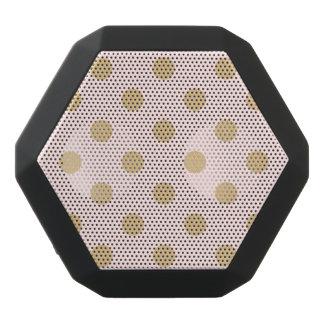 Pink and Gold Polka Dot Pattern Black Bluetooth Speaker