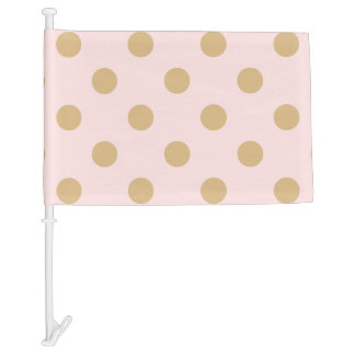 Pink and Gold Polka Dot Pattern Car Flag