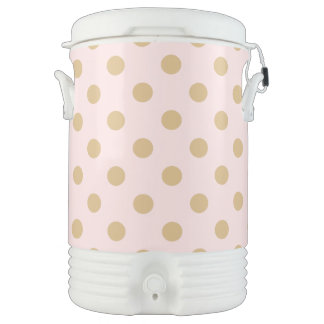 Pink and Gold Polka Dot Pattern Cooler