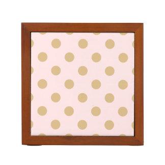 Pink and Gold Polka Dot Pattern Desk Organiser