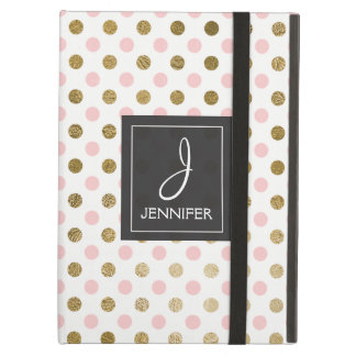 Pink and Gold Polka Dot Pattern Elegant Monogram iPad Air Cover