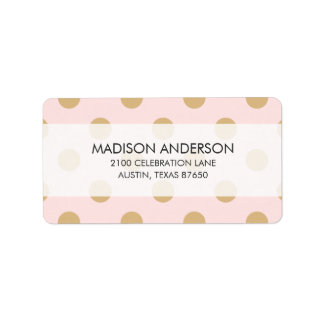 Pink and Gold Polka Dot Pattern Label