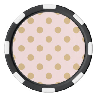 Pink and Gold Polka Dot Pattern Poker Chips