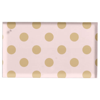 Pink and Gold Polka Dot Pattern Table Card Holders