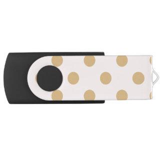 Pink and Gold Polka Dot Pattern USB Flash Drive