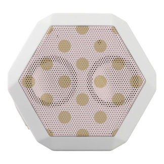 Pink and Gold Polka Dot Pattern White Bluetooth Speaker