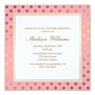 Pink and Gold Polka Dots Birthday Card