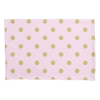Pink and Gold Polka Dots Personalized Custom Pillowcase
