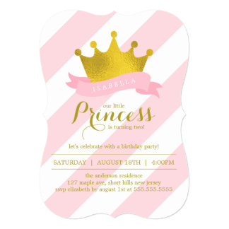 Pink and Gold Princess Birthday Party 13 Cm X 18 Cm Invitation Card