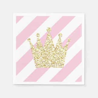 Pink and Gold Princess Crown Napkins Disposable Serviette