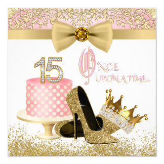 Pink and Gold Quinceanera Birthday Party 13 Cm X 13 Cm Square Invitation Card