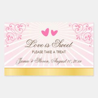 Pink and gold romantic hearts candy buffet wedding rectangular sticker