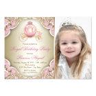 Pink and Gold Royal Princess Photo Birthday Party Card