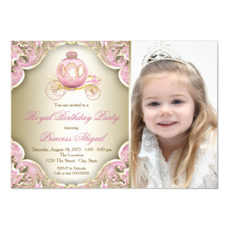 Pink and Gold Royal Princess Photo Birthday Party Card
