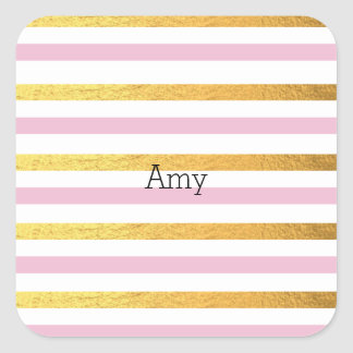 Pink and Gold Striped Sticker