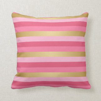 Pink and Gold Stripes Throw Pillow