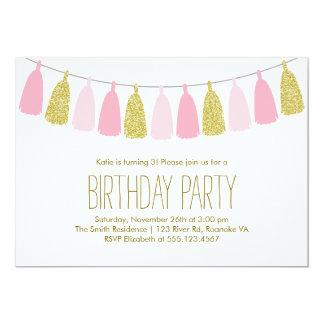 Pink and Gold Tassel Garland Birthday Party 13 Cm X 18 Cm Invitation Card